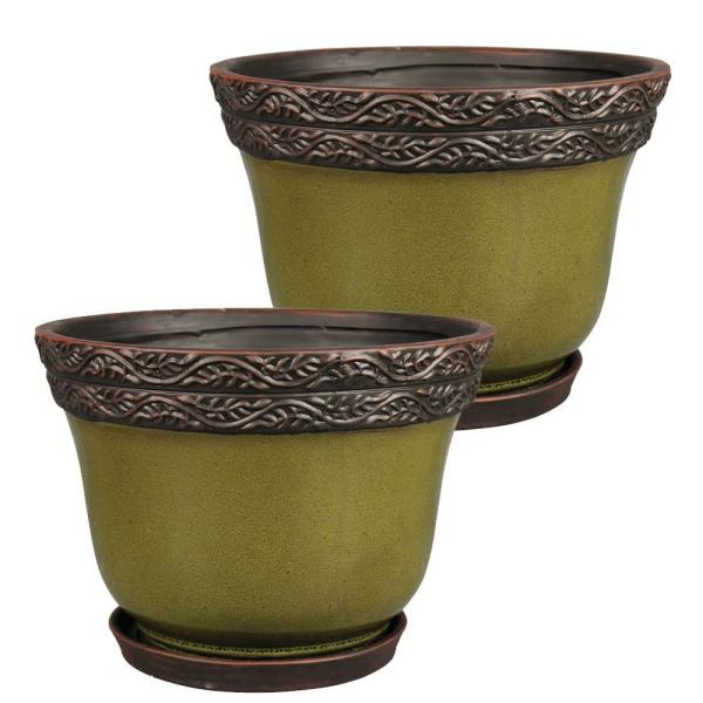 Reserva 8 in. Dia  Jade Ceramic Planter (2-Pack)