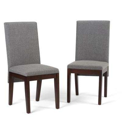 Jennings Contemporary Dining Chair (Set of 2) in Grey Linen Look Fabric