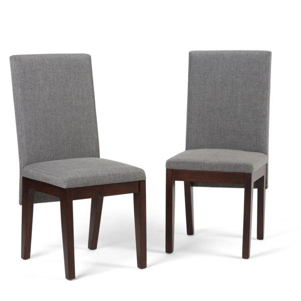 Jennings Contemporary Dining Chair Set Of 2 In Grey Linen Look Fabric