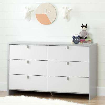 Cookie 6-Drawer Soft Gray and Pure White Dresser