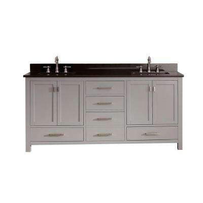Modero 73 in. W x 22 in. D x 35 in. H Vanity in Chilled Gray with Granite Vanity Top in Black and White Basins