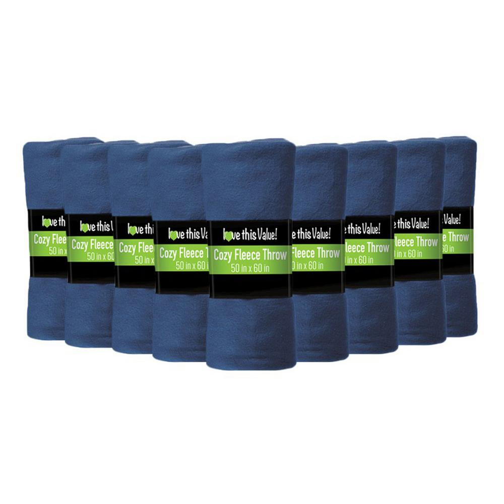 50 in. x 60 in. Navy Blue Super Soft Fleece Throw