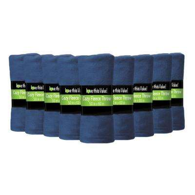 50 in. x 60 in. Navy Blue Super Soft Fleece Throw Blanket (12-Pack)