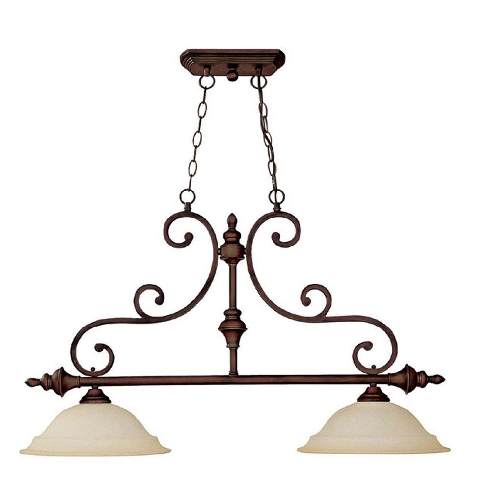 Filament Design 2 Light Burnished Bronze Island Lighting Fixture With Mist Scavo Gl