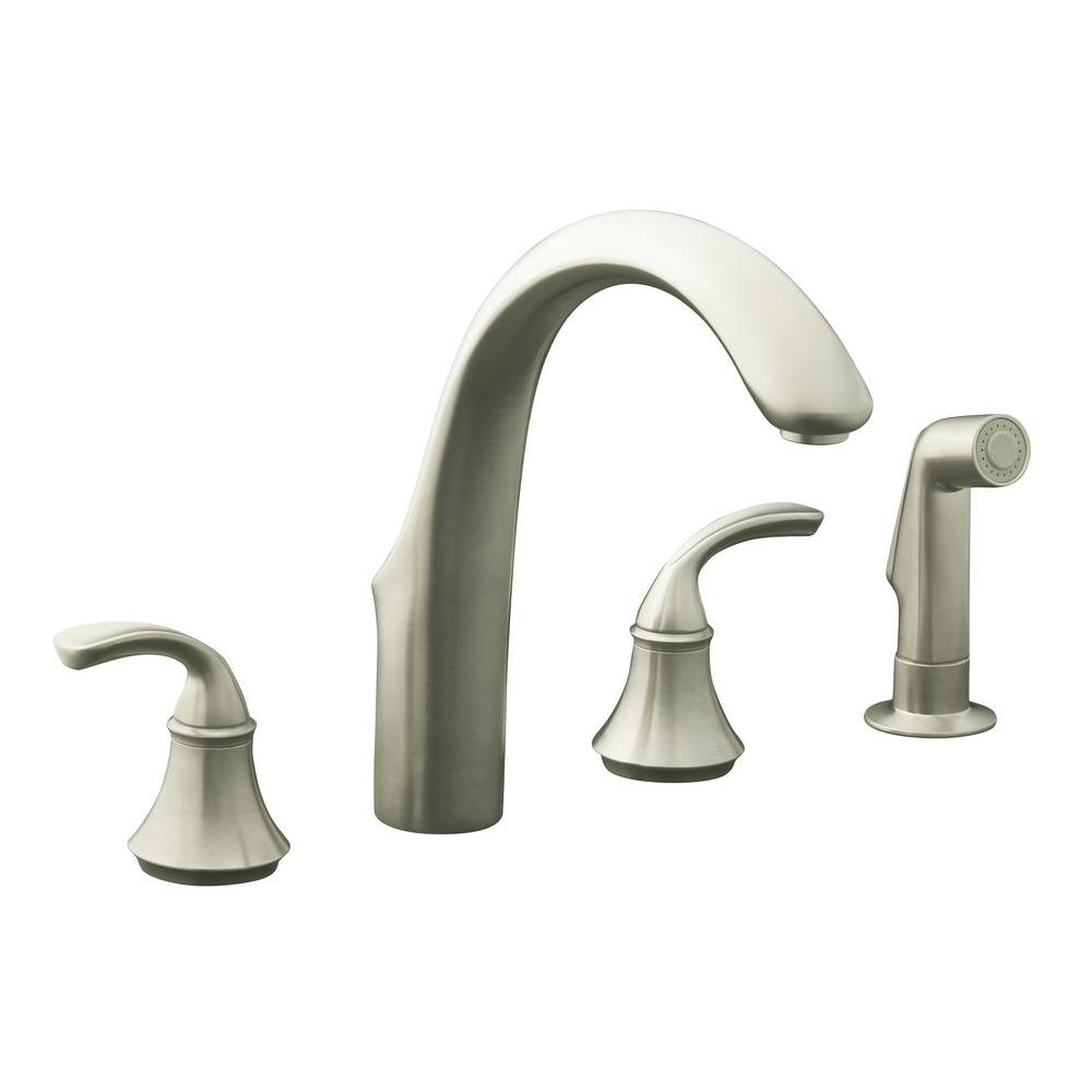 KOHLER Forte 2 Handle Standard Kitchen Faucet In Vibrant Brushed Nickel