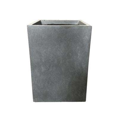 Small 9.1 in. x 9.1 in. x 12.6 in. Cement Lightweight Concrete Tall Square Planter