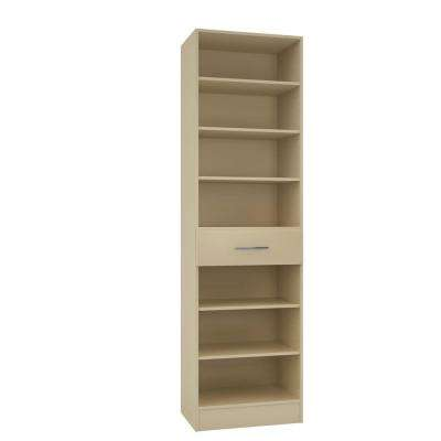 15 in. D x 24 in. W x 84 in. H Calabria Almond Melamine with 7-Shelves and Drawer Closet System Kit
