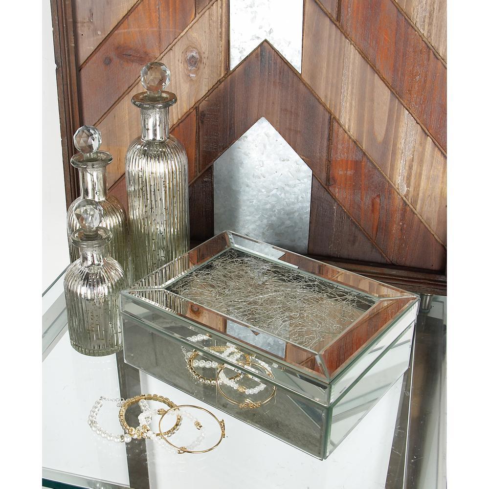 litton lane 10 in x 4 in modern rectangular mirrored jewelry box