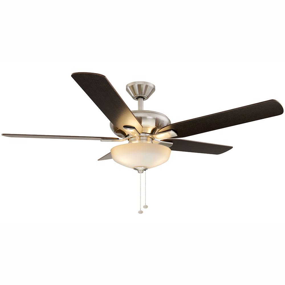 Hampton bay ceiling fans lighting the home depot led indoor brushed nickel ceiling fan with aloadofball Images