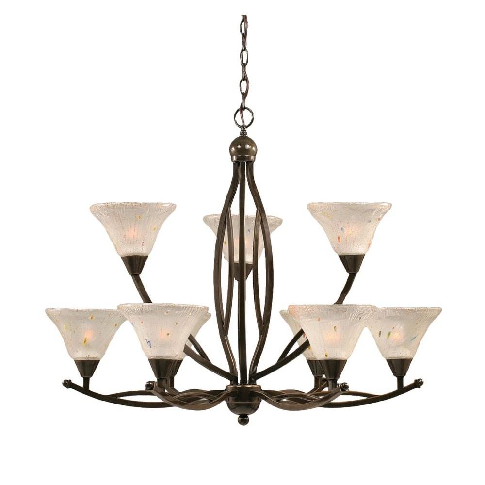Filament Design Concord 9-Light Onyx Black Chandelier with Frosted Crystal Glass
