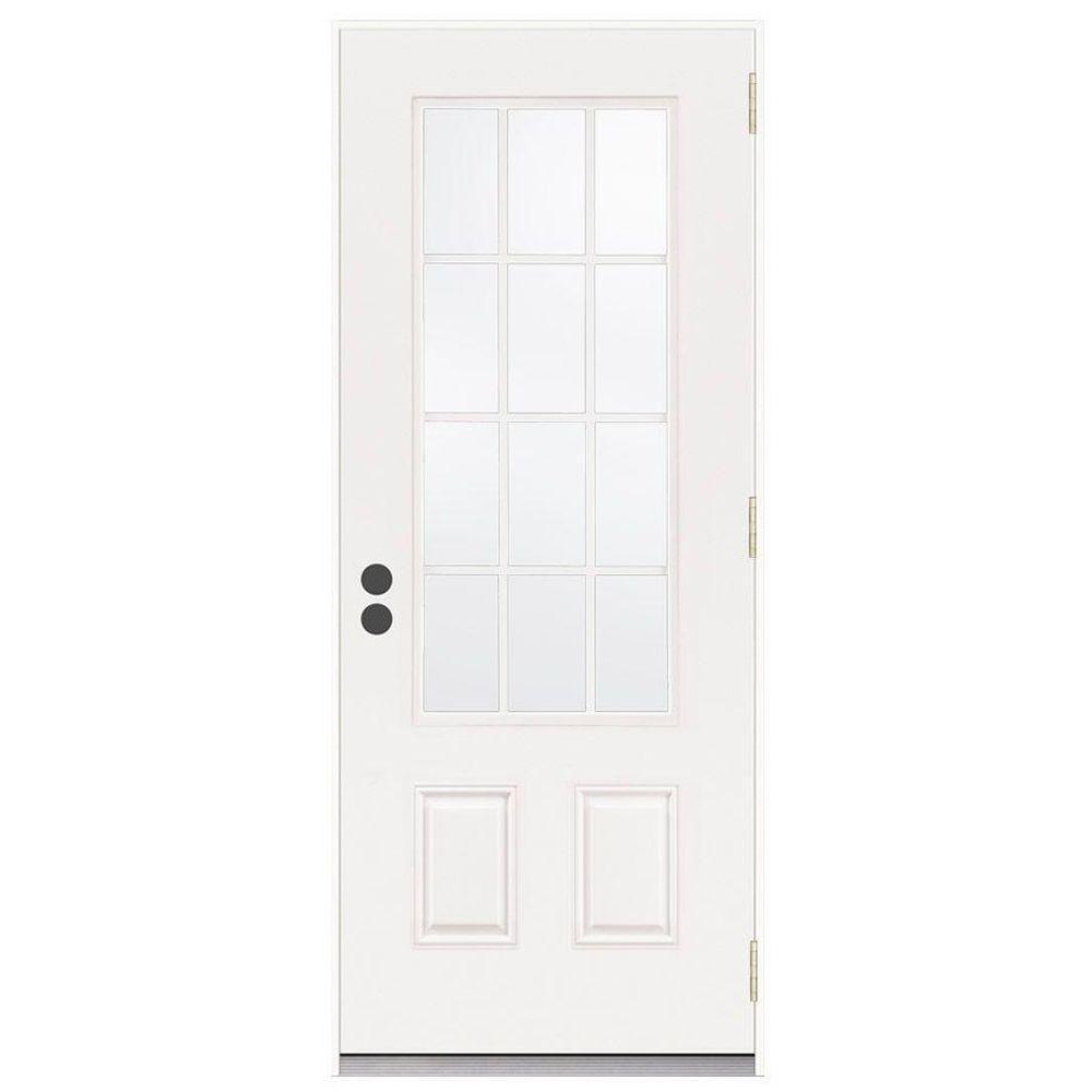 JELD-WEN 36 in. x 80 in. 12 Lite Primed Steel Prehung Left-Hand Outswing Front Door
