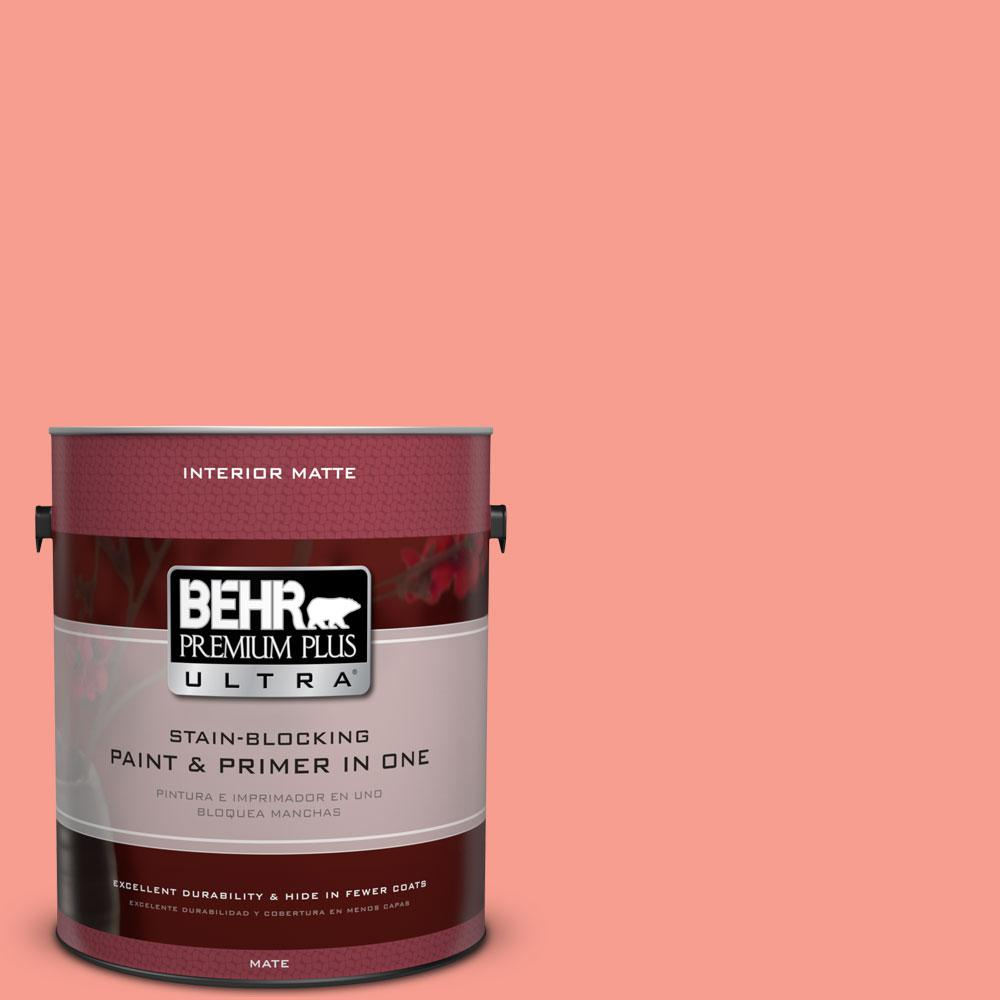 BEHR Premium Plus Ultra 1 gal. #180B-4 Fruit Shake Matte Interior Paint and Primer in One
