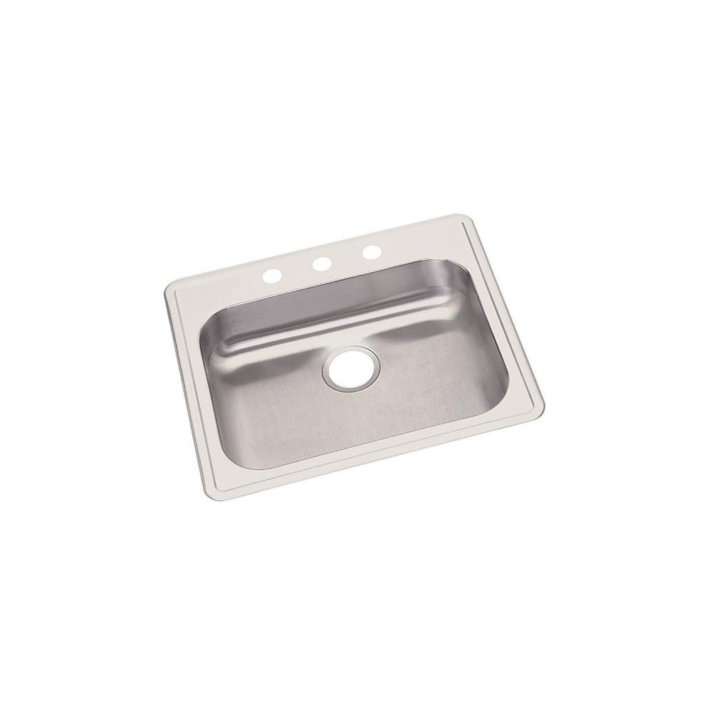 Dayton Drop-in Stainless Steel 25 in. 3-Hole Single Bowl Kitchen Sink