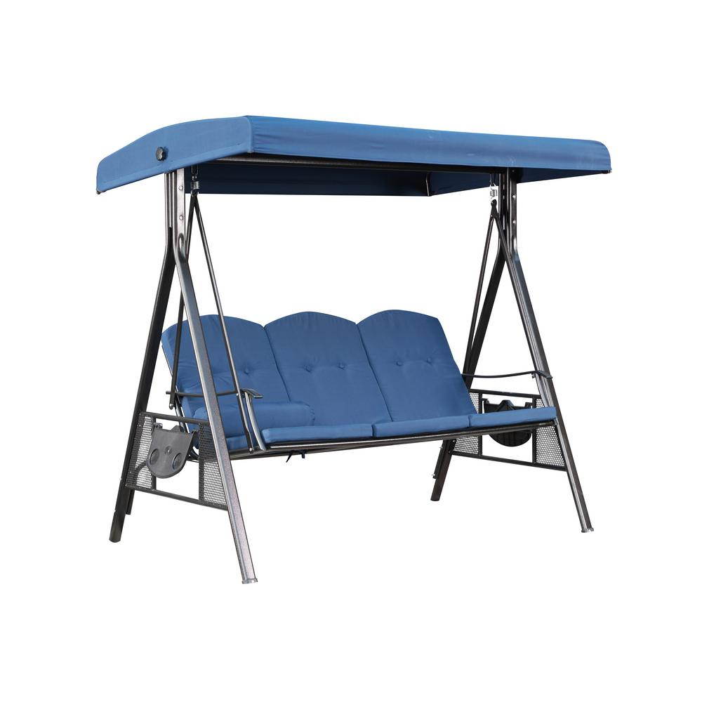 3 Person Metal Patio Swing With Blue Cushions