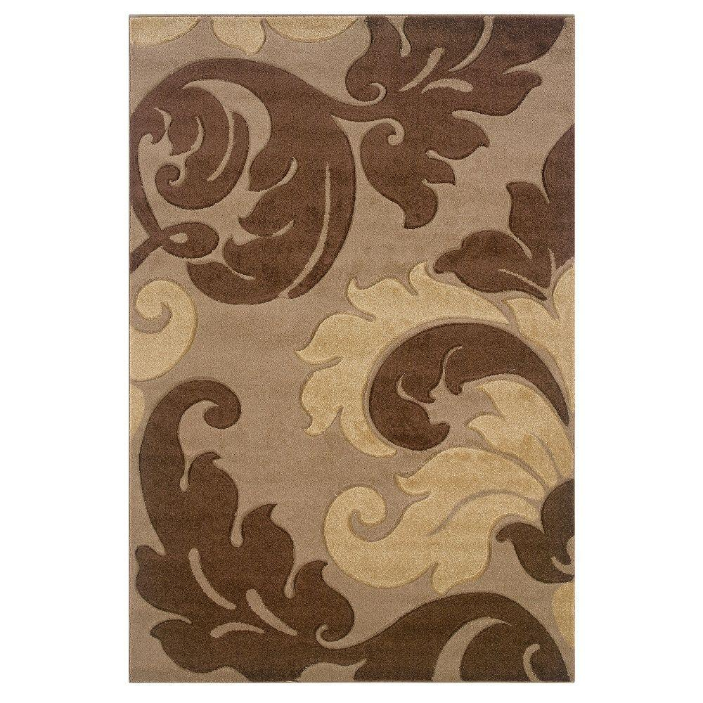 Linon Home Decor Corfu Collection Tan and Brown 5 ft. x 8 ft. Indoor Area Rug, Primary: Tan / Secondary: Brown Linon Home Decor Corfu Collection Tan and Brown 5 ft. x 8 ft. Indoor Area Rug, Primary: Tan / Secondary: Brown