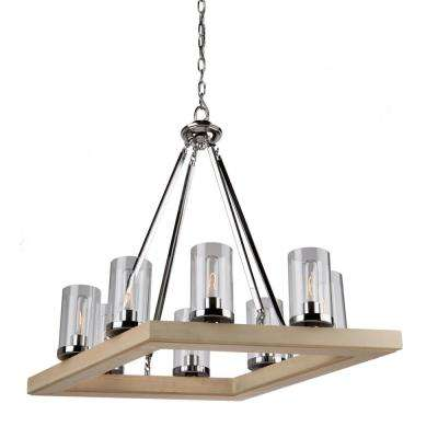 8-Light Natural Light Wood and Chrome Chandelier