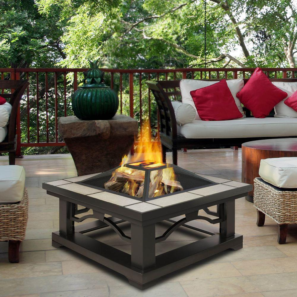 Real flame crestone 34 in steel framed wood burning fire for Buy outdoor fire pit