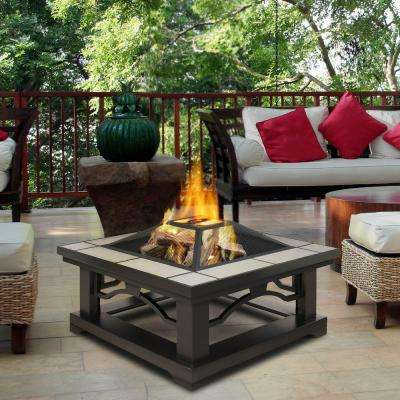 Steel Framed Wood Burning Fire Pit With Grey Tile