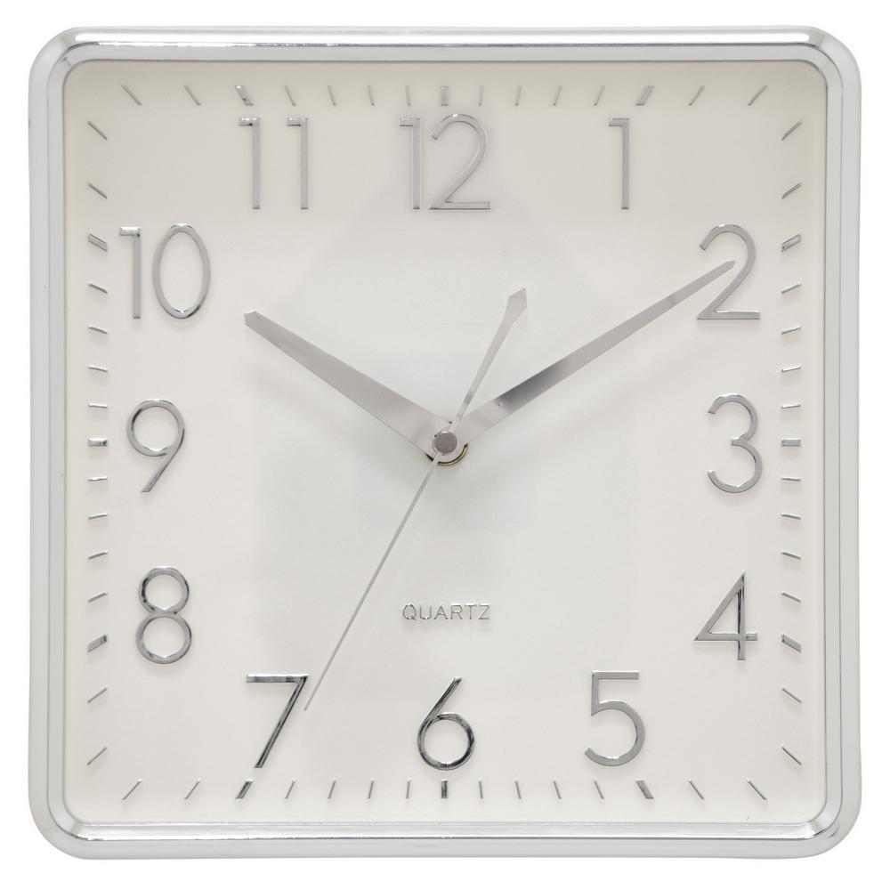 10 in. Shiny Silver Wall Clock