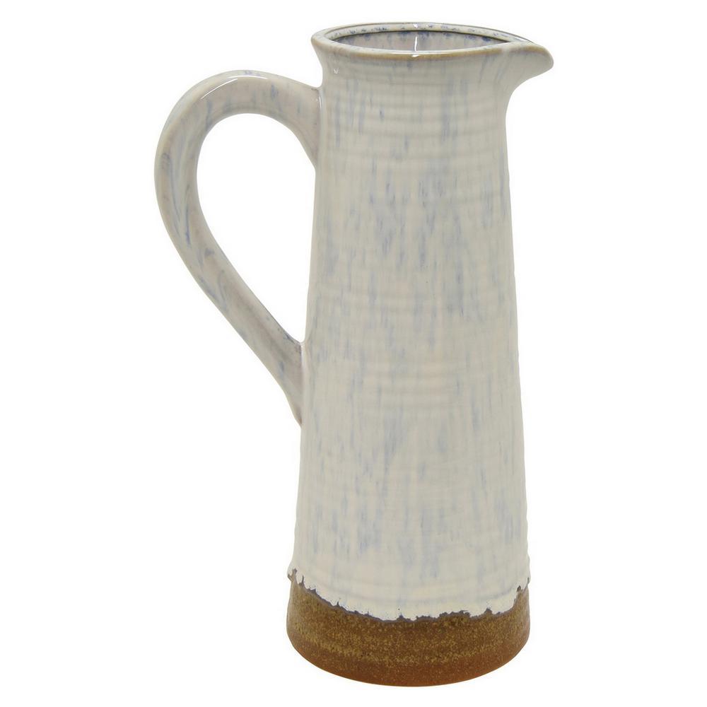 10 in. White Ceramic Decorative Vase