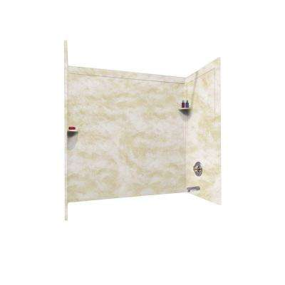 30 in. x 60 in. x 60 in. 3-Piece Easy Up Adhesive Alcove Surround in Cloud White