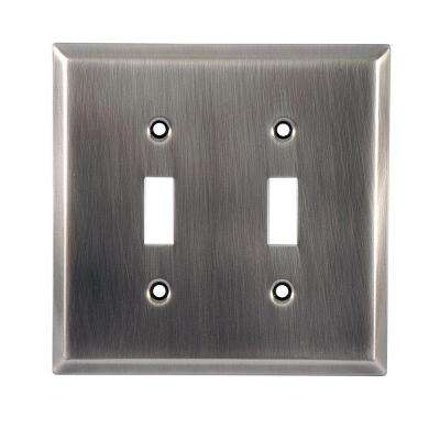 2 Toggle Switch Steel Wall Plate, Chrome