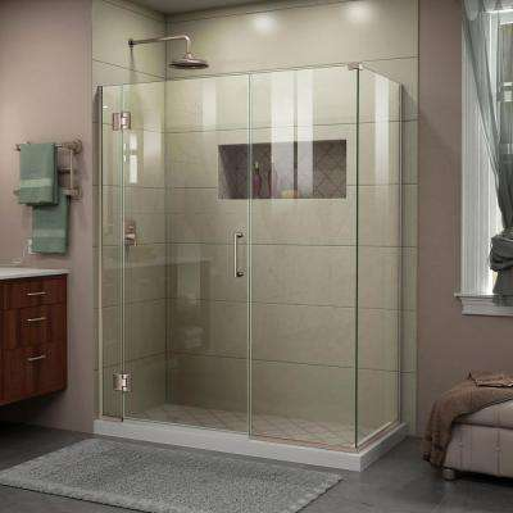 Unidoor-X 60 in. x 34-3/8 in. x 72 in. Frameless Hinged Shower Enclosure in Brushed Nickel