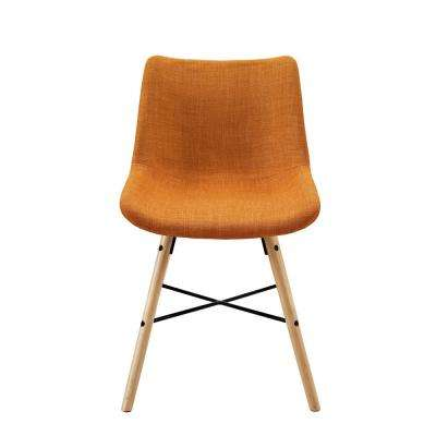 Orange Upholstered Linen Side Chair (Set of 2)