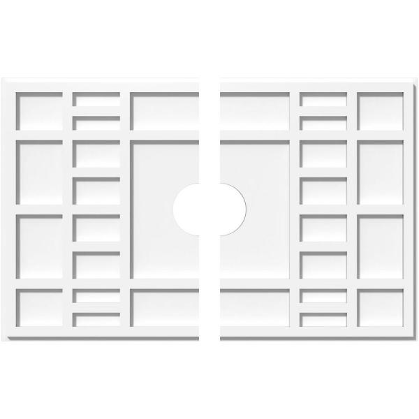 Ekena Millwork 30 In W X 20 In H X 4 In Id X 1 In P Beaux Architectural Grade Pvc Contemporary Ceiling Medallion 2 Piece 192770567866 The Home Depot