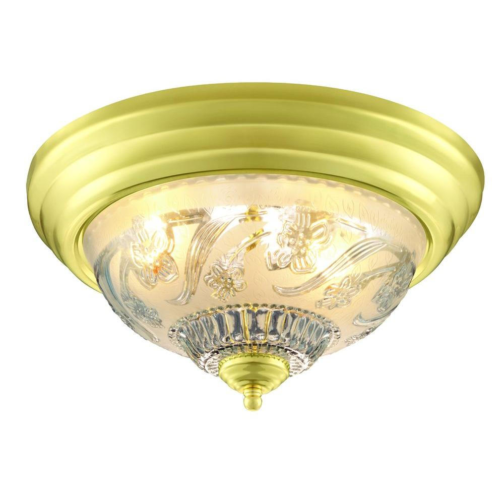 Hampton bay 13 in 2 light polished brass flushmount with frosted 2 light polished brass flushmount with frosted glass shade mozeypictures Images