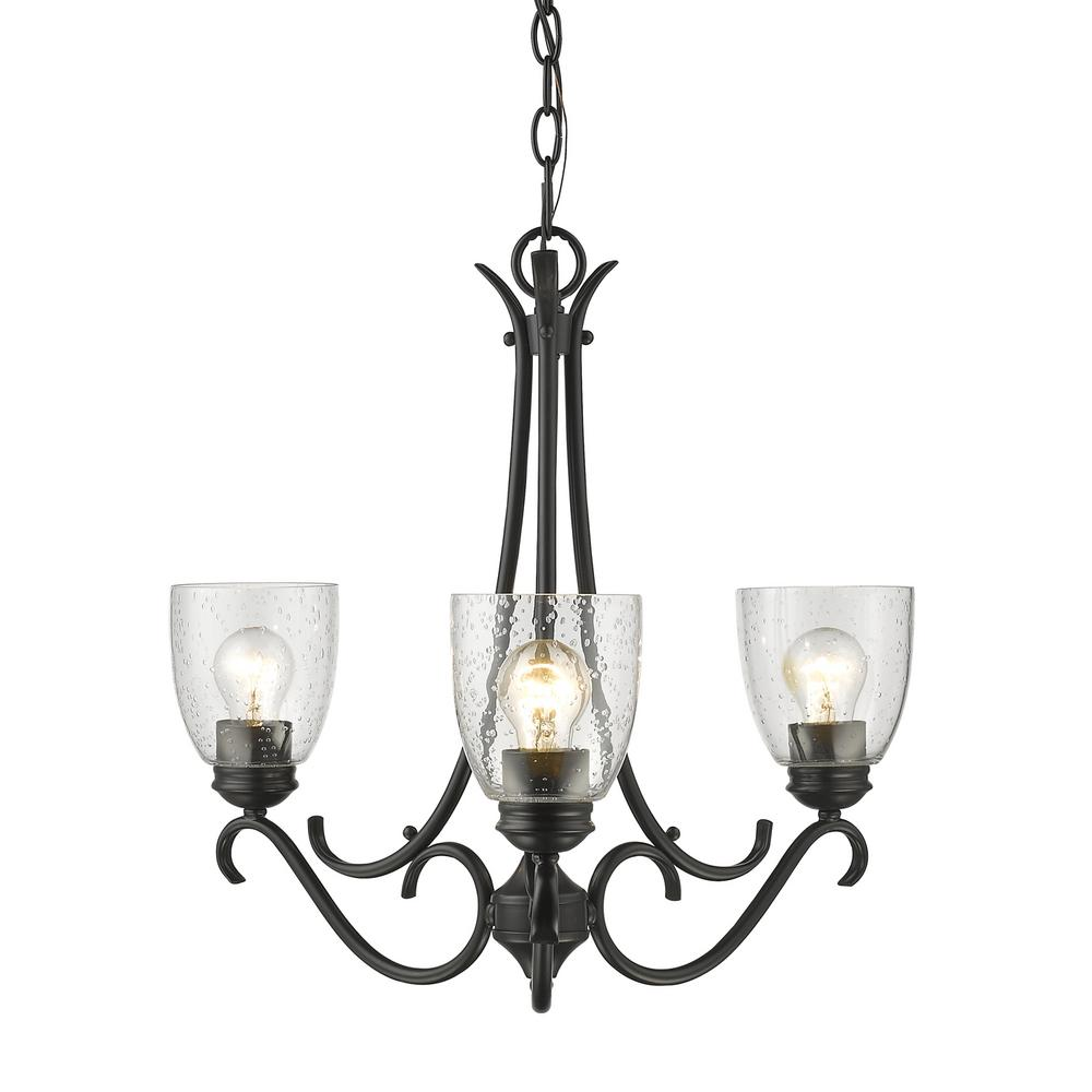 Golden lighting parrish 3 light black chandelier with seeded glass golden lighting parrish 3 light black chandelier with seeded glass shade aloadofball