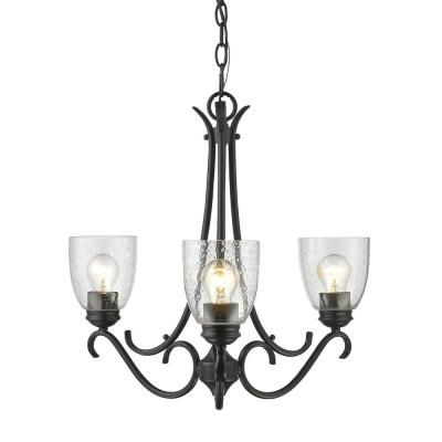 Parrish 3-Light Black Chandelier with Seeded Glass Shade