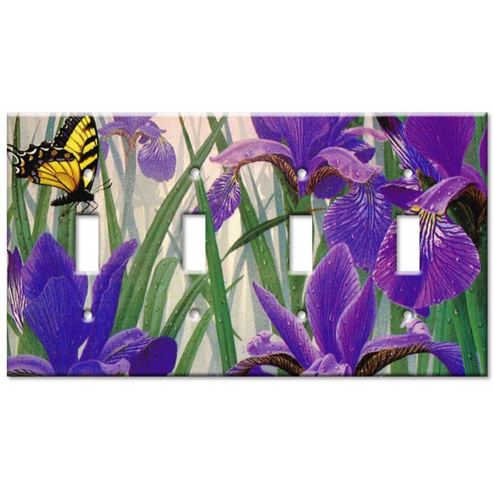 Art Plates Butterfly in Irises Quad Toggle Wall Plate