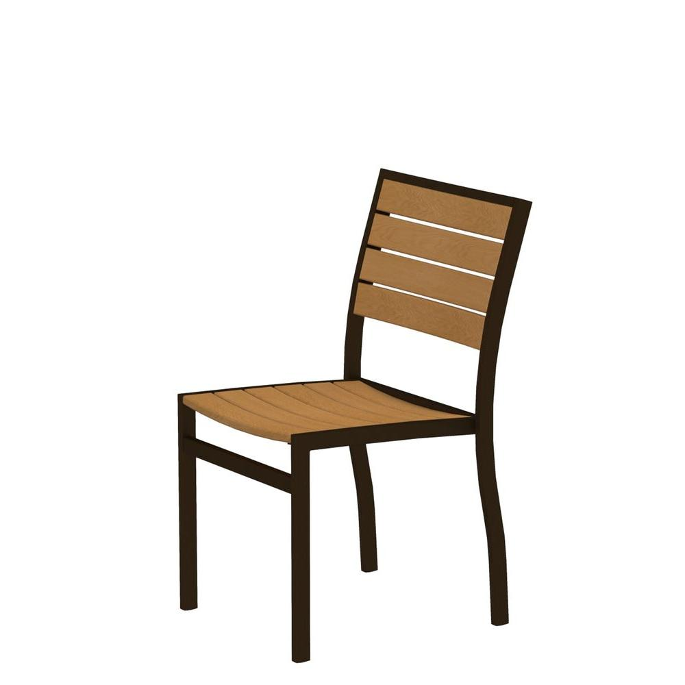 Euro Textured Bronze All-Weather Aluminum/Plastic Outdoor Dining Side Chair in