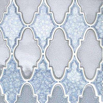 Roman Selection Iced Blue Arabesque Glass Mosaic Tile - 3 in. x 6 in. Tile Sample