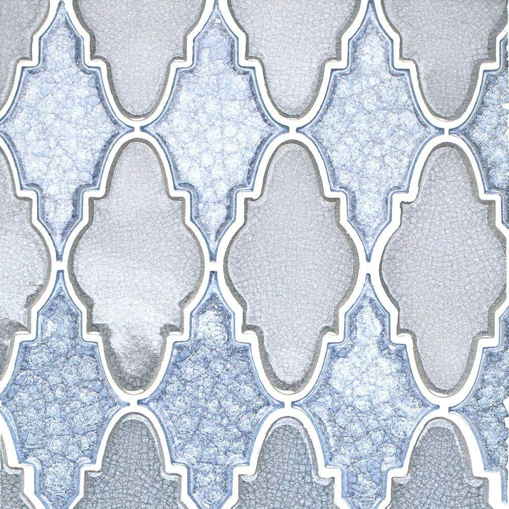 Ivy Hill Tile Roman Selection Iced Blue Arabesque 12-1/4 in  x 13-3/4 in  x  8 mm Glass Mosaic Tile