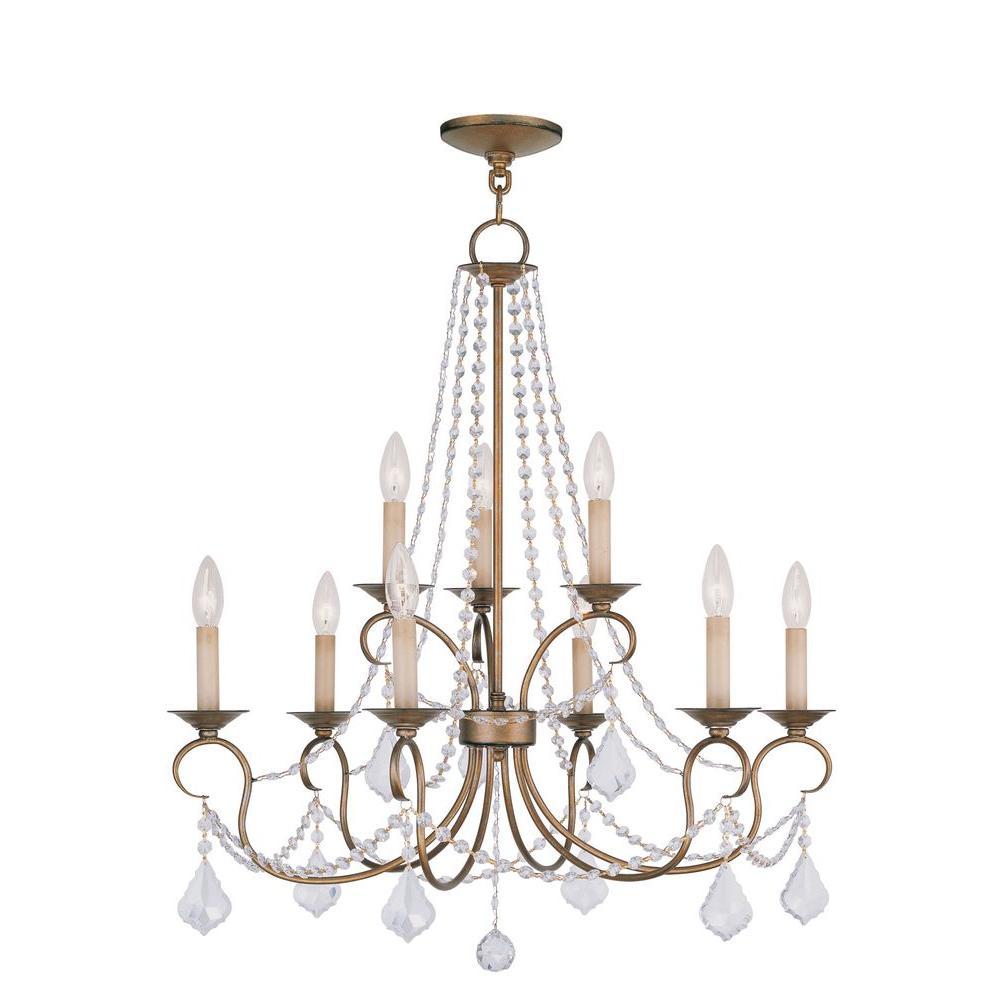 Livex Lighting Providence 9-Light Antique Gold Leaf Incandescent Ceiling Chandelier