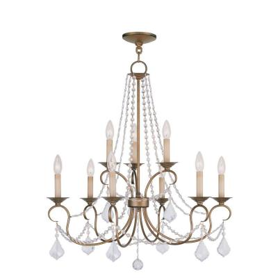 Providence 9-Light Antique Gold Leaf Incandescent Ceiling Chandelier