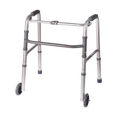 Single Release Aluminum Folding Walker with 5 in. Non-Swivel Wheels in Silver