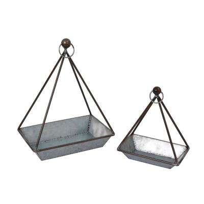11 in. x 13.8 in. Galvanized Metal Geometric Hanging Plant Holders (2-Set)