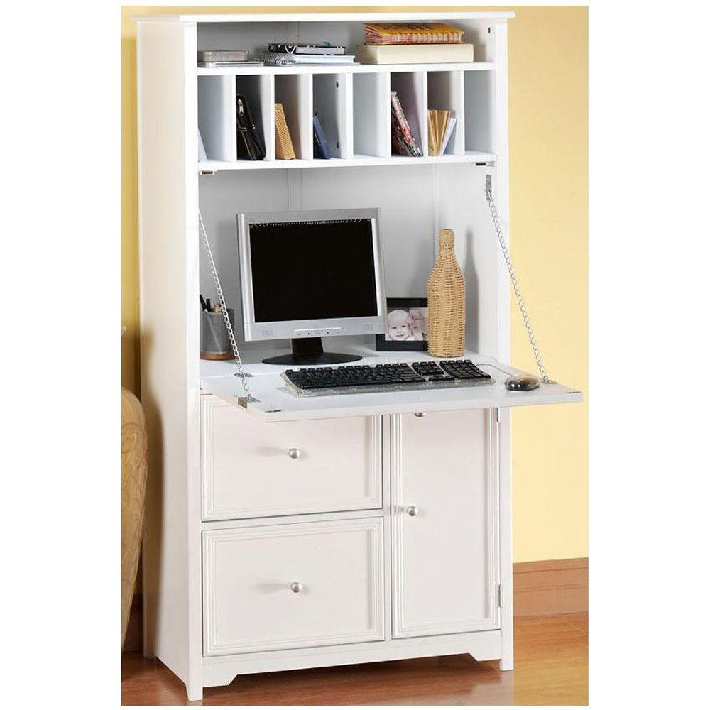 Home Decorators Collection Oxford White Secretary Desk 5020700410 The Home Depot