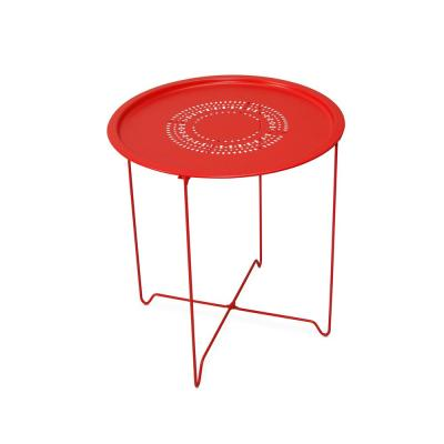 Samba Red Foldable Round Metal End Table (Set of 2)
