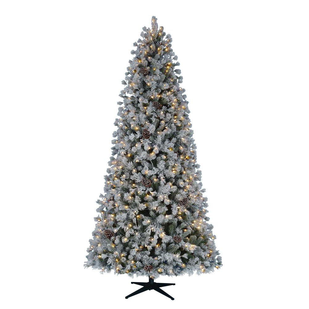 home accents holiday 9 ft pre lit led flocked lexington pine artificial christmas tree - Pre Decorated Artificial Christmas Trees