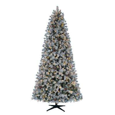 9 Ft Pre Lit Led Flocked Lexington Pine Artificial Christmas Tree With 500 Warm White Lights