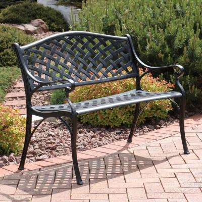 Checkered 2-Person Black Cast Aluminum Outdoor Bench
