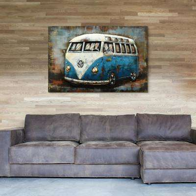 """""""Blue bus"""" Mixed Media Iron Hand Painted Dimensional Wall Dcor"""