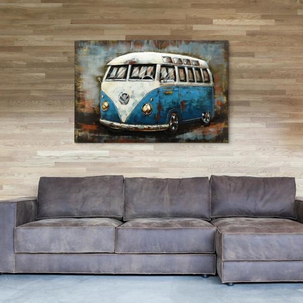 ''Blue bus'' Mixed Media Iron Hand Painted Dimensional Wall Decor PMO-180101-3248