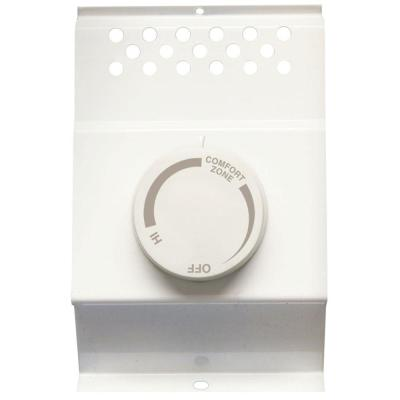 Double-Pole Electric Baseboard-Mount Mechanical Thermostat in White