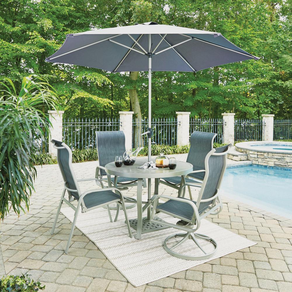South Beach Gray 7 Piece Aluminum Round Outdoor Dining Set