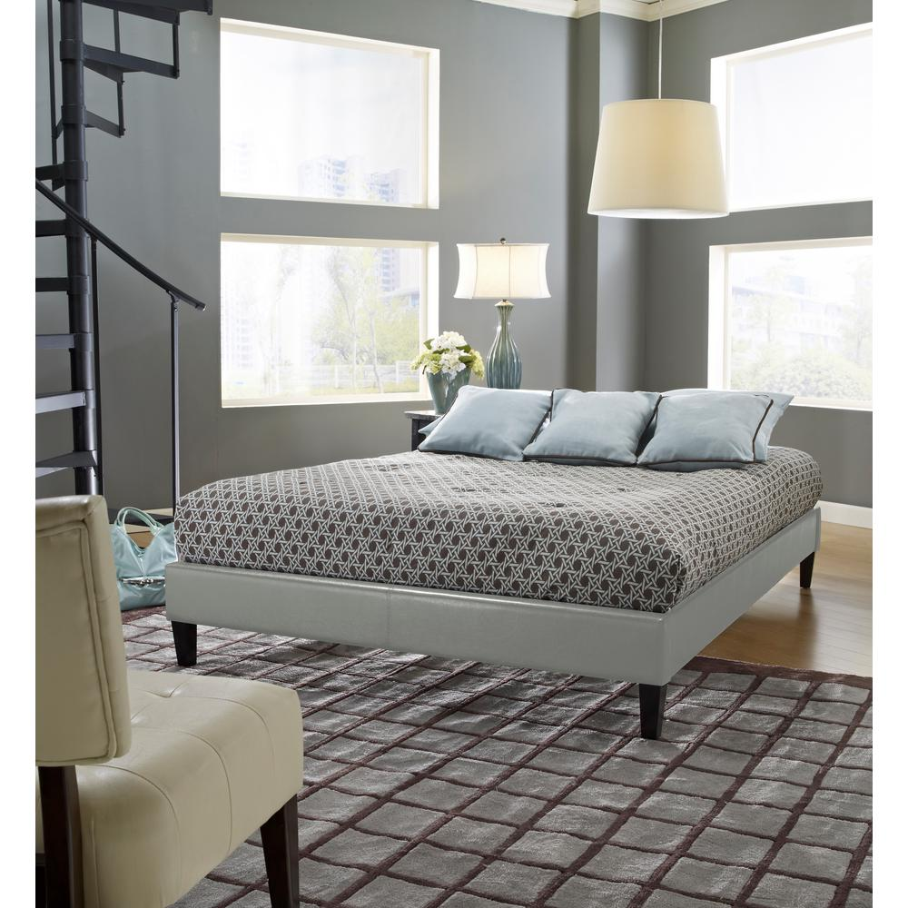 Charleston Gray Queen Upholstered Platform Bed